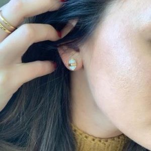 Stella & Dot Stone Rebel Earrings-Gold New w/Box